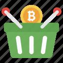bitcoin bucket, bitcoin buying, bitcoin purchase, bitcoin shopping, investment icon