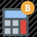 accounting, bitcoin calculation, bitcoin finance, blockchain calc, money calculation icon
