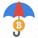 bitcoin insurance, bitcoin protection, bitcoin safety, cryptocurrency protection, financial insurance icon