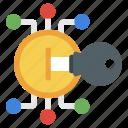 access key, bitcoin key, cyber key, digital key, encryption key, private key icon