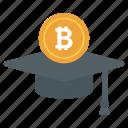 bitcoin education, bitcoin learning, bitcoin student, blockchain education, cryptocurrency education icon
