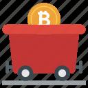 bitcoin earning, bitcoin mining, bitcoin wheelbarrow, blockchain, cryptocurrency mining, exploring bitcoin icon