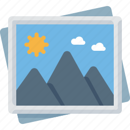 frame, image, mountains, photo, picture, shot icon