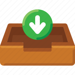 arrow, box, email, inbox, input, mail, message icon