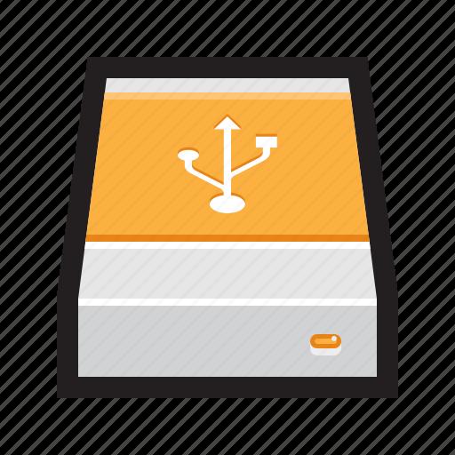 disk, drive, enclosure, external, hard, hdd, usb icon