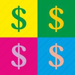 art, dollar, painting, pop, popart, usd, worhall icon