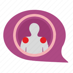 body, comment, dialog, doctor, heatlh, message, pain icon