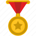army, gold, hero, medal, star, winner icon