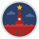 kremlin, moscow, star, tourism, tower, travel icon
