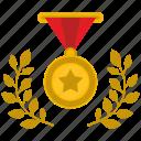 branch, gold, hero, laurel, medal, star, winner icon