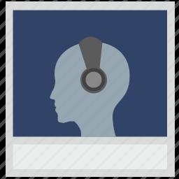 boy, face, headphones, photo, polaroid icon