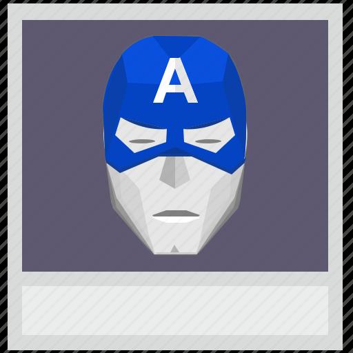 america, capitan, comix, face, photo, polaroid icon