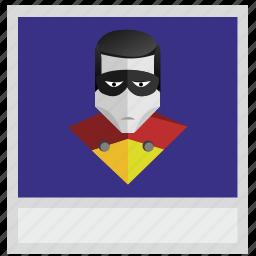 comix, hero, photo, polaroid, robin icon
