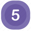 atm, five, number, rounded, square icon