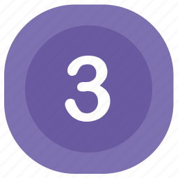 atm, number, rounded, square, third, three icon