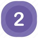 atm, number, rounded, second, square, two icon
