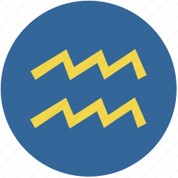 aquarius, round, sign, zodiac icon