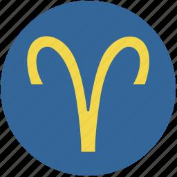 aries, round, sign, zodiac icon