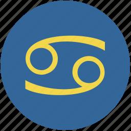 cancer, round, sign, zodiac icon