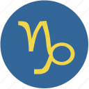 capricorn, round, sign, zodiac icon