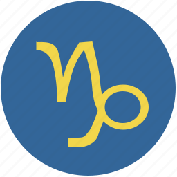 capricorn, round, sign, zodiac icon