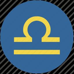 libra, round, sign, zodiac icon