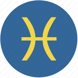 pisces, round, sign, zodiac icon