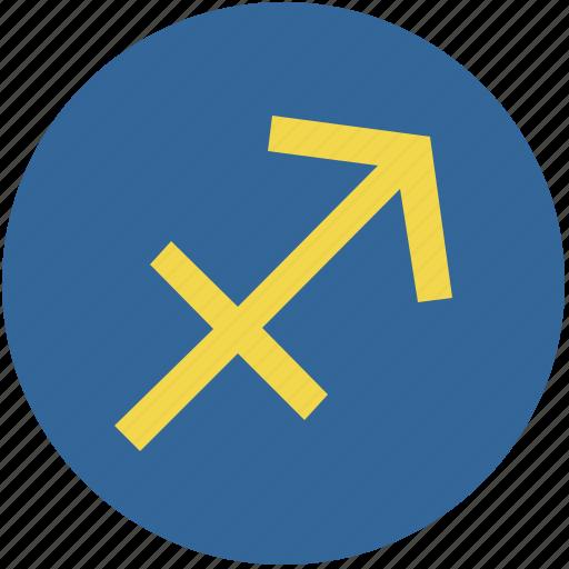 round, sagittarius, sign, zodiac icon