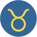 round, sign, taurus, zodiac icon