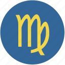 round, sign, virgo, zodiac icon