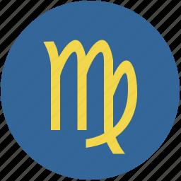 round, sign, virgo, zodiac icon