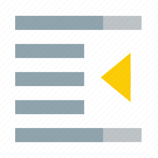 arrow, center, document, indent, left icon