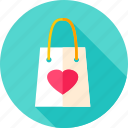 bag, fashion, heart, love, package, shopping, valentine icon