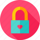 heart, lock, love, padlock, valentine icon
