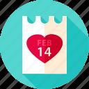 calendar, date, day, february, heart, love, valentine icon