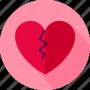 broken, divorce, heart, love, pain, single, valentine icon