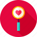 glass, heart, loop, love, magnifying, search, valentine icon