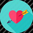 arrow, day, heart, love, pierced, romance, valentine icon