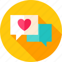 bubble, chat, heart, love, message, speech, valentine icon