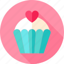 cupcake, dessert, food, heart, love, sweets, valentine icon