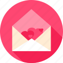 envelope, greeting, hearts, letter, love, post, valentine icon