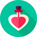 bottle, heart, love, parfume, poison, potion, valentine icon