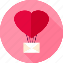 air balloon, envelope, heart, hot, letter, love, valentine icon