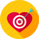 aim, arrow, heart, love, target, valentine icon
