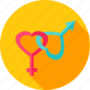 female, gender, heart, love, male, sex, valentine icon