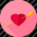 arrow, feeling, heart, love, pierced, romance, valentine icon