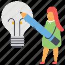creative idea, creative inspiration, creative writing, creativity, innovation icon