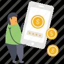 earn money, earn wealth, making money online, online earning, online revenue icon