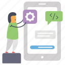 app setting, application development, mobile setting, mobile software development, online app design icon