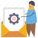 email configuration, email maintenance, email optimization, email setting, message configuration icon